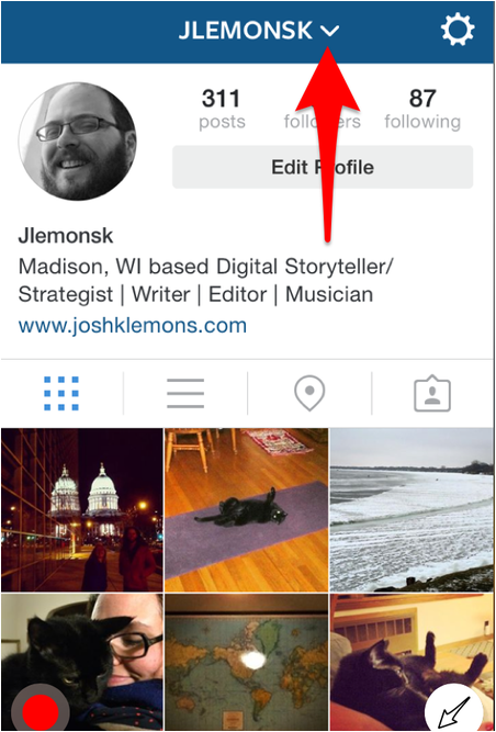 Toggle between your Instagram accounts here.