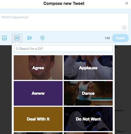 Twitter GIF Library search