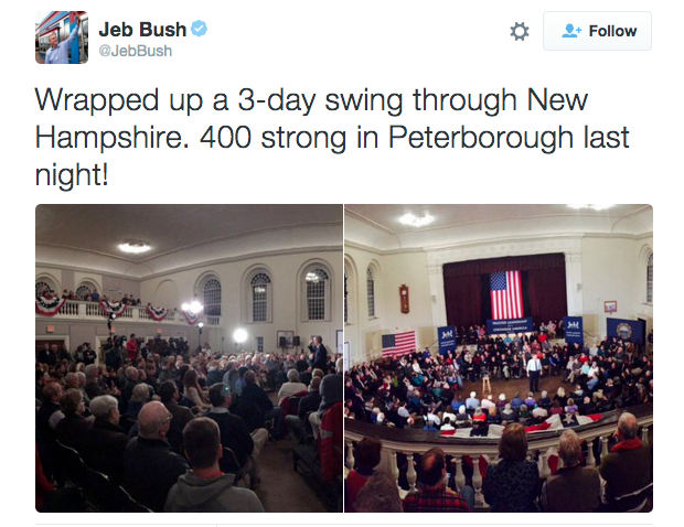 Jeb Bush tweeted about the 400 people who attended his event