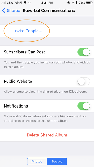 Adding people to your iCloud Shared Drive