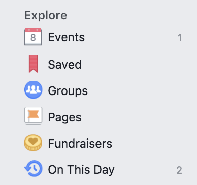 Facebook Explore Tabs